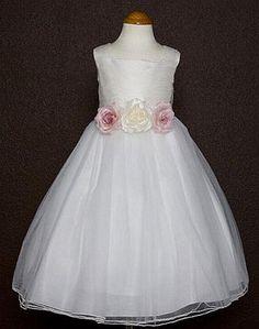 Girls White Dupioni Silk Bodice and Tulle Skirt Dress Girls Dresses Online, Girls Formal Dresses, Wedding Dresses Plus Size, Ivory Dresses, Bridal Wedding Dresses, Elegant Dresses, Flower Girl Dresses, Flower Girls, Tulle Skirt Dress