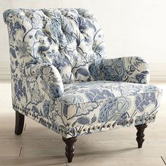 Pier 1 Imports Chas Indigo Floral Armchair ($450) ❤ liked on Polyvore featuring home, furniture, chairs, accent chairs, blue, vintage armchair, vintage accent chairs, blue tufted chair, tufted arm chair and tufted chair