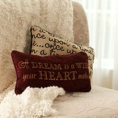 Midnight or noon, you'll inspire dreamers everywhere with our lovely Cinderella accent pillow with woven, textured fabric cover and plush fiber fill, featuring the beloved lyrics to A Dream is a Wish Your Heart Makes. Disney Bedding, Disney Pillows, Accent Pillows, Throw Pillows, Disney Bedrooms, Dog Pajamas, Disney Home Decor, Disney Sketches, Disney Merchandise