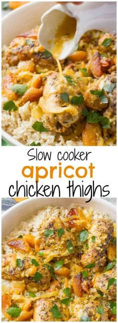 Slow cooker apricot chicken thighs - a simple dinner recipe with big fresh flavors and an intoxicating aroma!