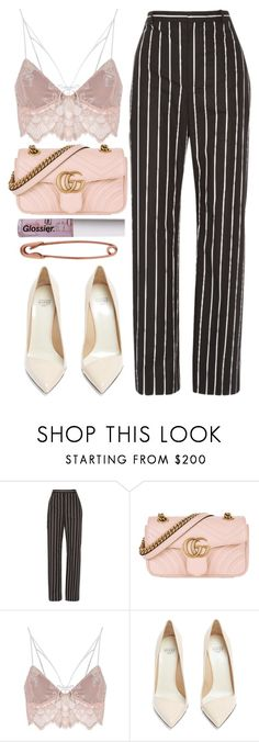 """""""we don't say what we really mean"""" by anniemccurdy ❤ liked on Polyvore featuring Balenciaga, Gucci, For Love & Lemons and Francesco Russo"""