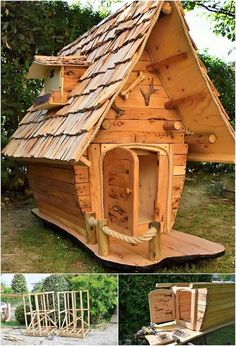 Impressive designed! Isn't it? A unique pallet playhouse or the garden house design is bringing upon here for you through the cut-to-cut arrangement of the pallet stacks all around it. This is truly an outstanding creation because of the featuring rough effect in its designing concepts.