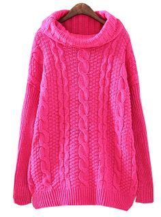 Rose Red High Neck Long Sleeve Cable Knit Sweater US$31.97