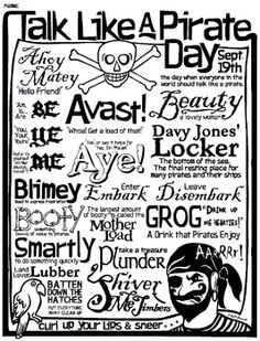 Talk Like A Pirate Worksheet - Word Games