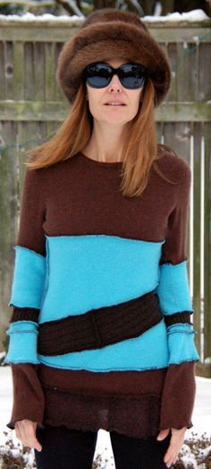 Recycled Sweater Cashmere Upcycled Turquoise & by archeologia