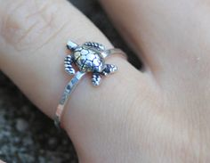 Sterling silver little turtle ring turtle by CapturedIllusions