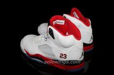 Air Jordan V White/Fire Red-Black 2013
