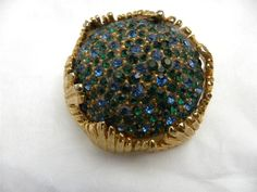 ELSA SCHIAPARELLI AMAZING BLUE GREEN GLASS RHINESTONE BROOCH PIN, SIGNED #SCHIAPARELLI