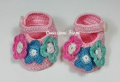Crochet Baby Spring Flowers /Booties / Slippers/ by CreazioniFiopi