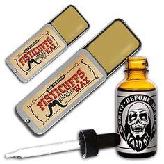 Fisticuffs Mustache Wax plus beard oil combo pack. See more mustache waxes here: http://www.growabeardnow.com/mustache-wax/.