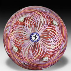 Mike Hunter 2014 purple, pink, yellow, white and red double latticinio swirl with dog silhouettes an by Twists Glass Studio