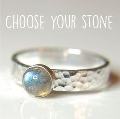 Labradorite Sterling silver ring hammered silver ring with