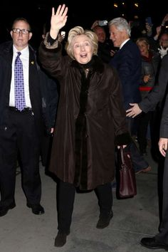 """Clinton responds to Trump executive action ruling with simple tweet: '3-0'    Former Secretary of State Hillary Clinton and former President Bill Clinton attend the Broadway a cappella musical """"In Transit"""", at Circle in the Square Theatre, on Wednesday, Feb.1, 2017, in New York."""