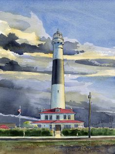 Absecon Lighthouse . watercolor . illustration