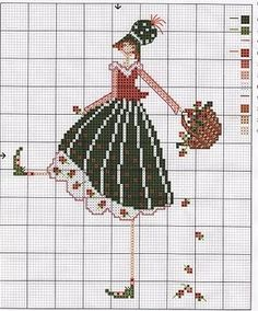 fille panier Cross Stitch Fairy, Cross Stitch Bookmarks, Cross Stitch Flowers, Cross Stitch Charts, Cross Stitch Designs, Cross Stitch Patterns, Needlepoint Patterns, Embroidery Patterns, Hand Embroidery