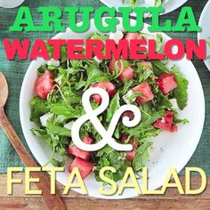 Arugula, Watermelon & Feta Salad drizzled in a sweet vinaigrette made of orange and lemon juice is the perfect summer salad. It's simple and so refreshing!
