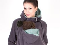 3-in-1 Fleece Tragejacke in anthrazit mint-Punkte