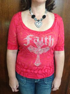 Faith Cross on Burnout blouse Red by TheresasCreationsBq on Etsy, $28.95