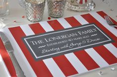 Personalized Paper Placemat PACKAGE - Bold Stripes -Anniversary