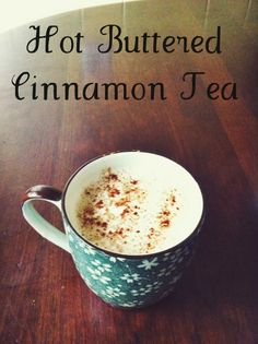 Basic Ingredients: Hot Buttered Cinnamon Tea - I'm trying with homemade organic butter. Fun Drinks, Yummy Drinks, Healthy Drinks, Beverages, Nutrition Drinks, Hot Tea Recipes, Coffee Recipes, Drink Recipes, Dinner Recipes