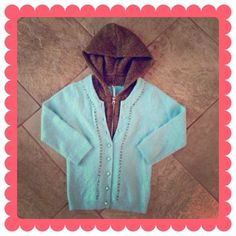 FREE PEOPLE Cardigan BUNDLE & SAVE 30%   This gives you that layered look all in 1 cardigan! Hooded, with olive green colored zippered layer and powder blue button up outer layer, 3/4 length sleeves, 26% angora rabbit 28% nylon 25% lambs wool 23% wool NWOT! Free People Sweaters Cardigans