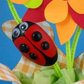 Craft project with group instructions: Use plastic spoons to  mold love bug pins. This craft is great for Valentine's Day and any gift-giving  occasion. Children of all ages, even as young as two, will enjoy making  these love bugs as pins or magnets.