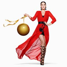 Katy Perry Debuts Christmas Song in H&M Holiday Campaign - Pursuitist Katy Perry Photos, Style Photoshoot, Christmas Campaign, Beautiful Red Dresses, Christmas Fashion, Wrap Dress, Glamour, Pullover, Polyvore