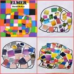 BRICO-collages elmer2 Elmer The Elephants, Kids Collage, Elephant Crafts, Crafts For Kids, Album, Activities, Animals, Children's Books, Carnival