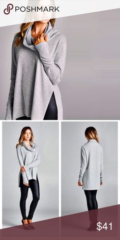 Heather Grey soft Cowl turtle neck Slightly boxy fit, long sleeves, cowl turtle neck, hi-low top. Has high side slits. This top is made with medium weight, brushed knit fabric that has a very soft fuzzy texture, drapes well and is very warm. This fabric has good stretch. Tops