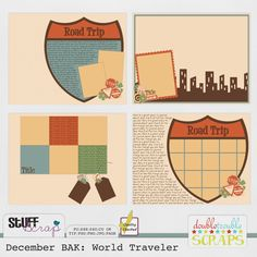 December BAK: World Traveler 11x8.5 by Double Trouble Scraps