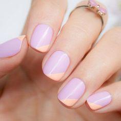 A lavender-and-peach color-block manicure.
