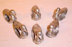 SET OF 6 VINTAGE CAST ALUMINUM DUCK SHAPED NAPKIN RINGS