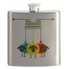 Three Knitting Yarn Sheep Flask