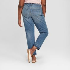 131be03840e Women s Plus Size Released Hem Boyfriend Crop Jeans - Universal Thread  Medium Wash 14W