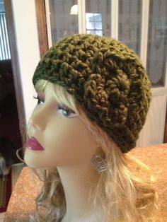 Dark Green Chunky Yarn super soft ladies beanie with flower on Etsy, $22.00