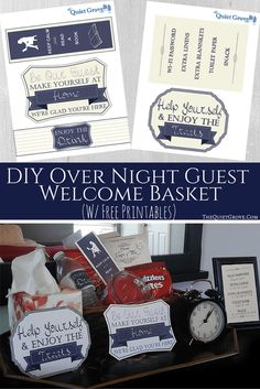 DIY Over Night Guest Basket. (With cute Printables) to make your guest feel extra special.