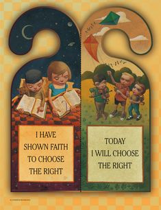 """LDS """"Faith to Choose the Right"""" printable door hanger Primary Talks, Lds Primary, Primary Lessons, Classroom Birthday, Primary Classroom, Book Of Mormon Stories, Lds Faith, Preschool Letters, Choose The Right"""