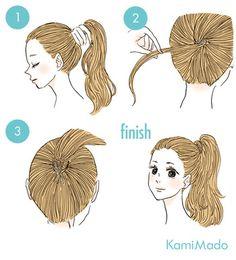 自分の髪でゴムを隠すやり方はこんな感じで、ポニーテールの一部分を少しとり、下からくるりとゴムの周りを一周させ、毛先をピンだ留めるだけ!とっても簡単ですよ。