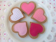 We love tea time, dont you? Set of 5 felt heart shaped cookies feature yummy frosting and the sweetest sprinkles. They measure 3-1/2, made of