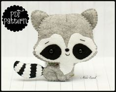 Cute raccoon (PDF Pattern) super cute! #sewingpattern Love this one <3