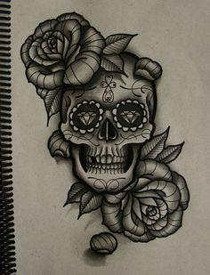 sugar skull w/ roses