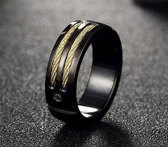 Men's Titanium Steel Black Gold Wire Band Ring Unique by KANTILAKI