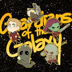 chibi Marvel guardians of the galaxy groot peter quill starlord gamora rocket raccoon Drax