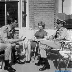 """Andy Griffith, Barbara Eden and Don Knotts between scenes of an """"Andy Griffith Show"""" espisode where Barbara played a manicurist at Floyd's Barber Shop. Hollywood Actor, Classic Hollywood, Vintage Hollywood, Hollywood Actresses, Barney Fife, Don Knotts, The Andy Griffith Show, I Dream Of Jeannie, Childhood Tv Shows"""