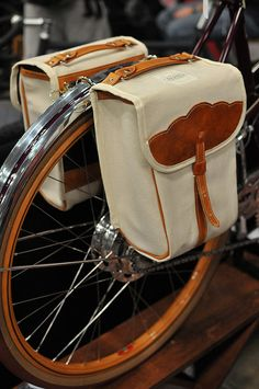 Rye purchased matching his and hers saddle bags for our vintage bicycles so we can bike to the organic food market.