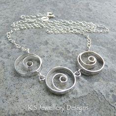 Spiral Circles Trio Necklace Sterling Silver - Wirework Metalwork Spirals £60.00