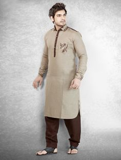 Cotton Brown Solid Festive Men Pathani Suit | Buy Men Pathani Suit ...
