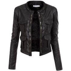 Doublju Faux Leather Power Shoulder Jacket with Pocket Detail (130 ARS) ❤ liked on Polyvore featuring outerwear, jackets, leather jackets, tops, coats, synthetic leather jacket, imitation leather jacket, pocket jacket, vegan jackets and faux leather jacket