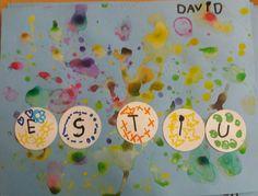 tapa d'àlbum . fem bombolles de sabó amb aigua i pintura. confegim i decorem la paraula estiu. escola miquel martí i pol sabadell