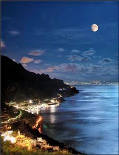 Moonlight over the Amalfi Coast, Italy Beautiful contrast of colors. Stunning! #BeautifulNow! #Moonlight #Italy